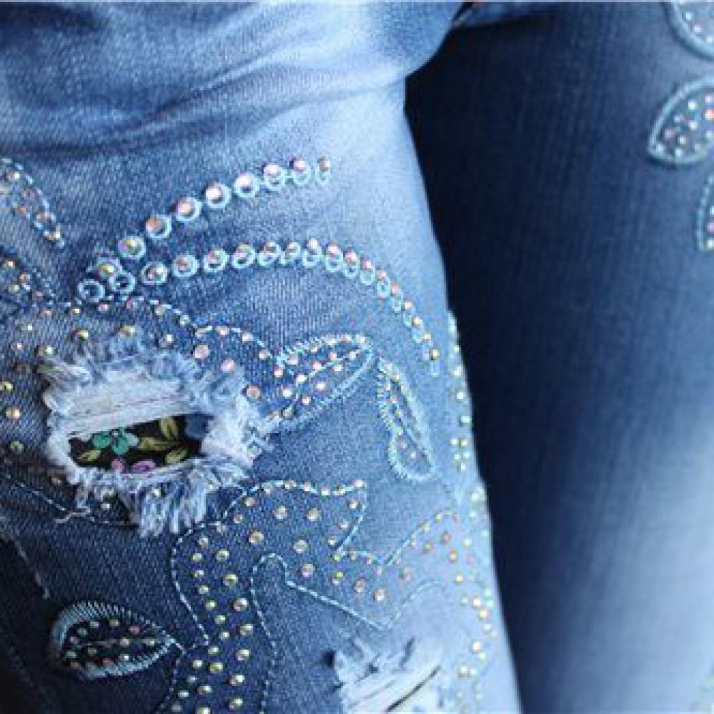 Узоры из страз на джинсы фото